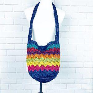 Rainbow woven straw bucket bag boho crossbody